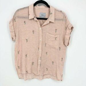Rails Whitney Hula Girl Cuffed S/S Button Up Shirt